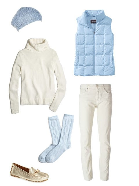 outfit with a light blue down vest, cream turtleneck and cream corduroy pants