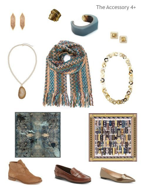 accessories in teal and shades of brown; shoes, scarves and jewelry