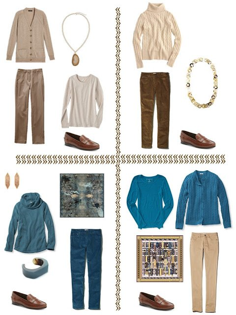 4 outfits in teal and shades of brown