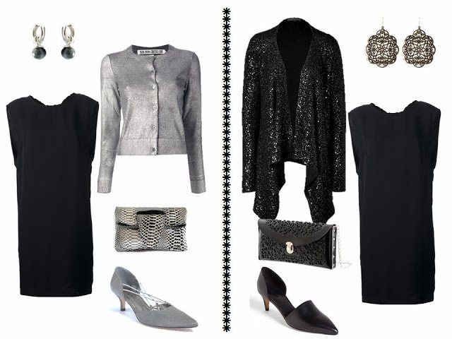 black dress with sequined cardigan