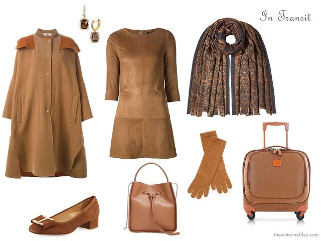 A luxurious, expensive camel travel outfit for cold weather