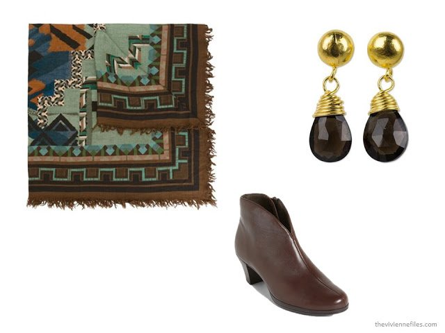 brown accessories: Etro geometric print scarf, Munro short boots, and Khun Boom smoky topaz earrings