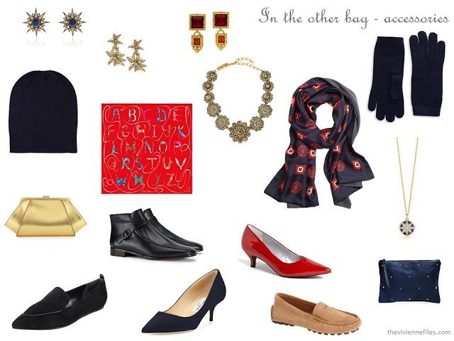 navy, camel, red and gold accessories for cold weather