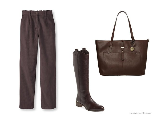 brown items for your wardrobe: L.L.Bean corduroy pants, Louise et Cie riding boots, and Fiorelli tote bag