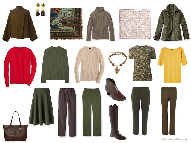 """13-Piece """"Whatever's Clean"""" travel capsule wardrobe for cool weather, in brown and green with red and yellow accents"""