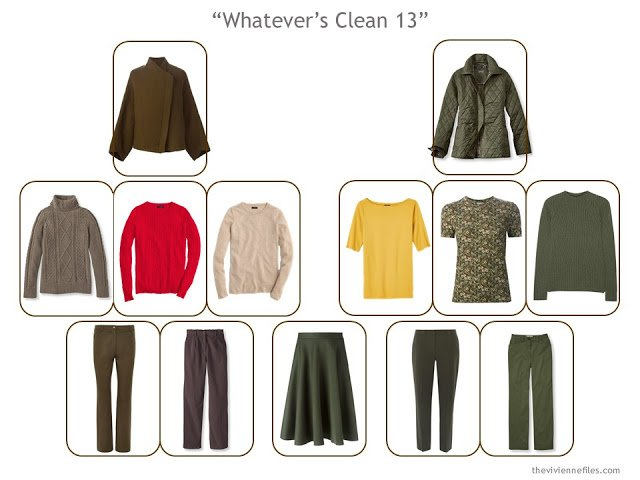 "A ""Whatever's Clean 13"" wardrobe for cool weather, in brown and green with accents of red and yellow"