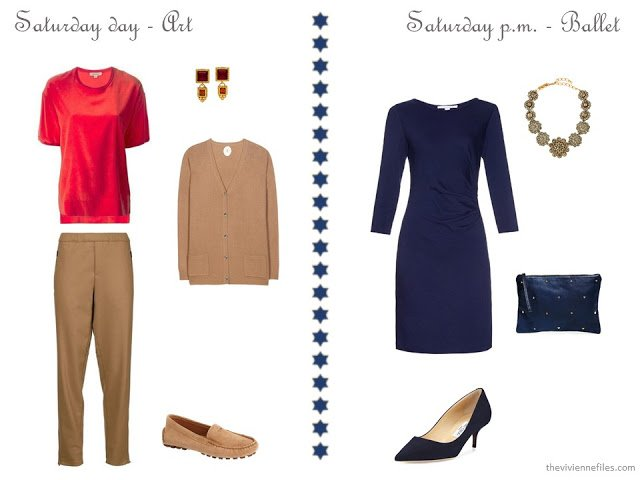 camel pants and cardigan with a red tee, navy dress with star accessories