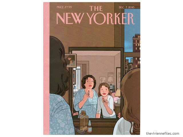 New Yorker cover, December 7, 2015, which uses the Pantone 2016 colors of the year.