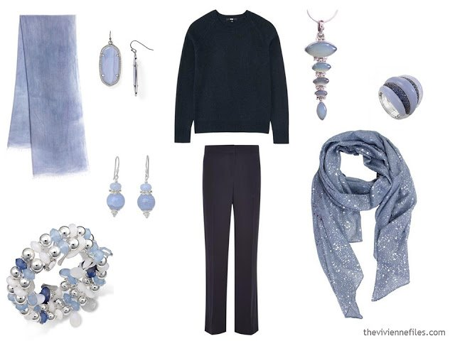 How to wear Pantone Color of the year 2016 Serenity with navy clothes.