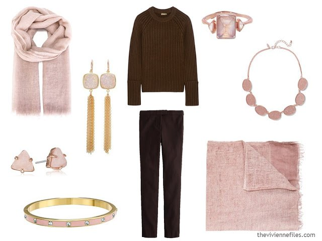 How to wear Pantone Color of the year 2016 Rose Quartz with brown clothes.