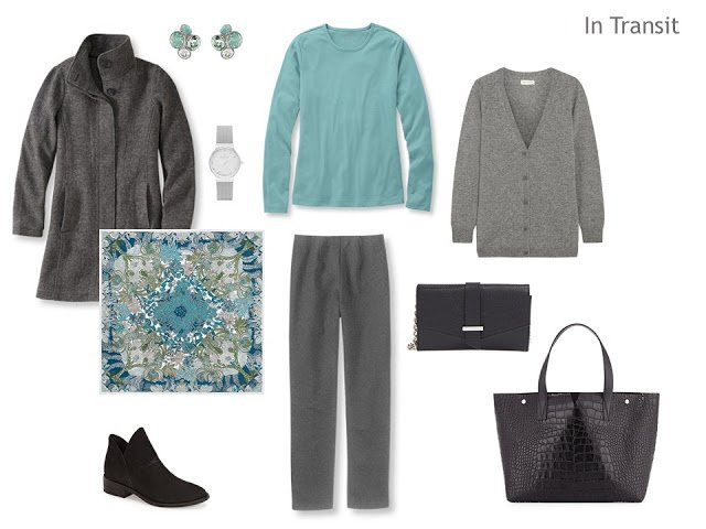travel outfit in grey with soft teal accents
