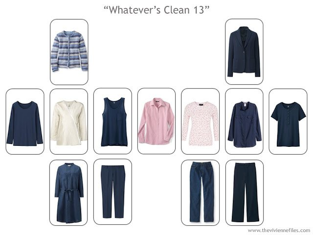 Navy travel capsule wardrobe