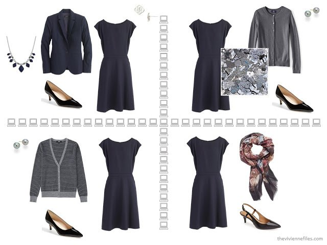 Four business outfits based on a navy dress, from a capsule wardrobe of navy, grey and burgundy.