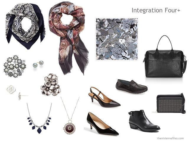 The Integration Four+ of scarves, jewelry, shoes and bags, which finish the capsule wardrobe in navy, grey and burgundy.