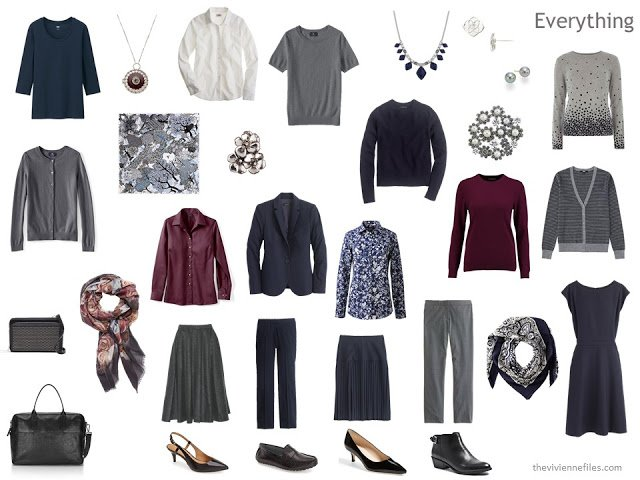 A travel wardrobe or capsule wardrobe in navy, grey and burgundy, for cold-weather business wear.