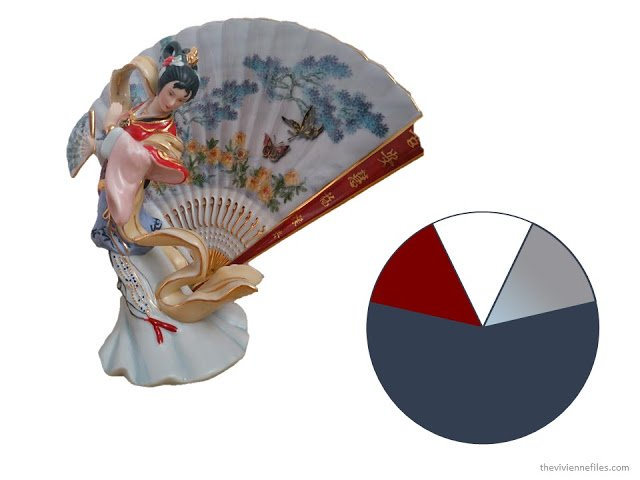 a porcelain figurine of a woman and a decorated fan, along with a color scheme drawn from the figurine