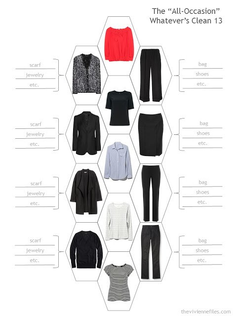 capsule wardrobe or travel wardrobe in black, for any occasion, based on the Whatever's Clean 13 template