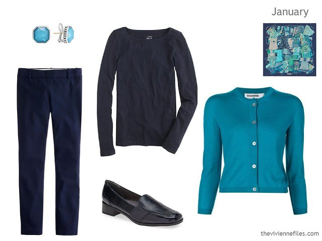 navy and turquoise outfit