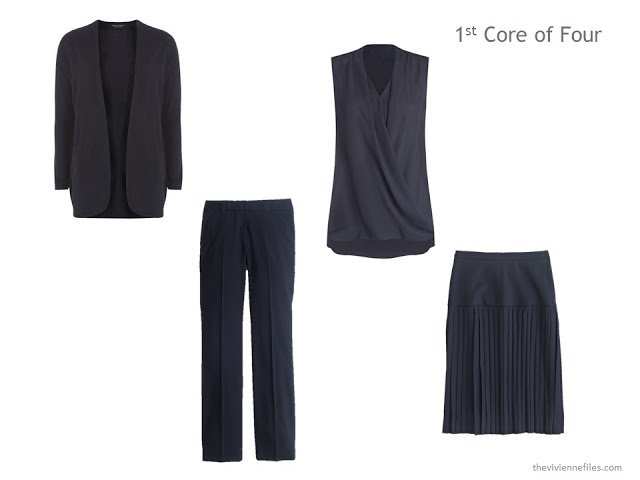 navy Core of Four with cardigan, draped sleeveless top, trousers and skirt