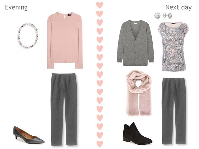 two outfits with grey pants, a blush pink top, and beautiful accessories