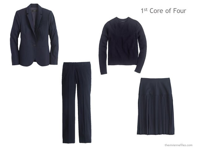 a Core of Four pieces of clothing in navy: blazer, trousers, sweater and skirt