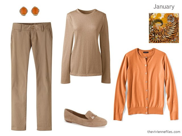 camel and orange outfit
