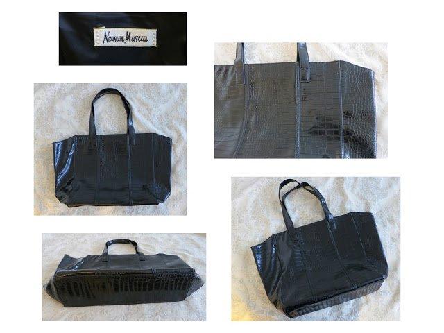 Neiman Marcus black embossed tote bag