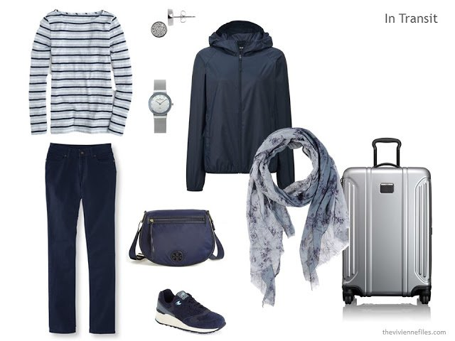 travel outfit of jeans, striped tee, navy jacket, and accessories
