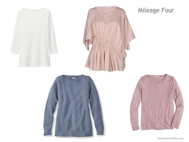 a Mileage Four in white, soft blue and blush pink