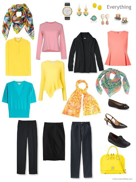 a travel capsule wardrobe in black with yellow, turquoise and coral