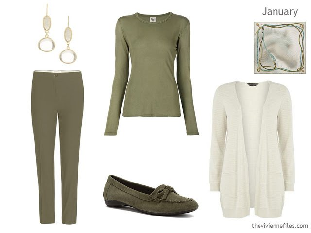 olive green and off-white outfit