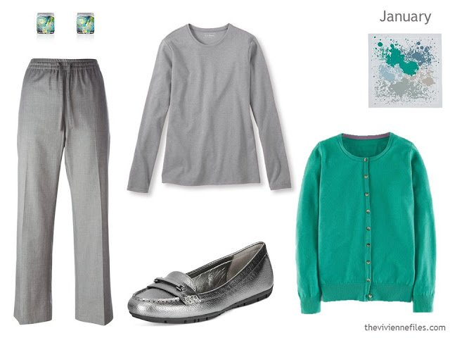 grey and jade green outfit