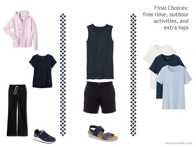 two leisure outfits to fit into a capsule travel wardrobe in navy, blue and pink