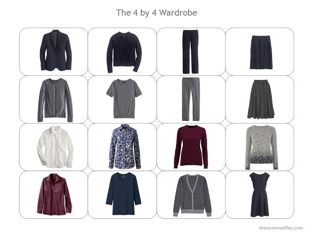 A 4 by 4 Wardrobe Template, with business clothes in navy, grey and burgundy.