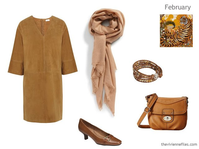 camel dress with accessories