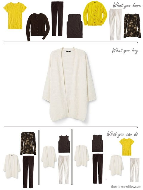 How to Build a Capsule Wardrobe in a Brown, Cream, Aqua and Golden Yellow color palette
