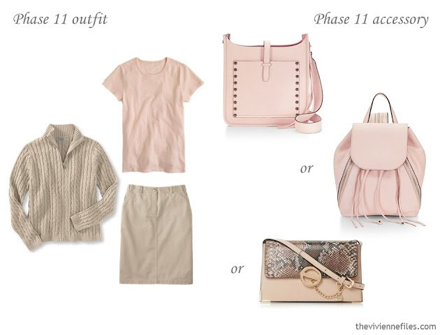 How to Build a Capsule Wardrobe of Accessories in a Beige, Sage and Blush color palette