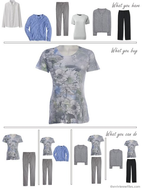 How to Build a Capsule Wardrobe in a Grey, Blue, Lilac and Black color palette
