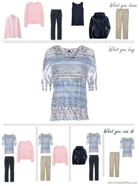 How to Build a Capsule Wardrobe in a Denim, Stone, Pink and Soft Blue color palette