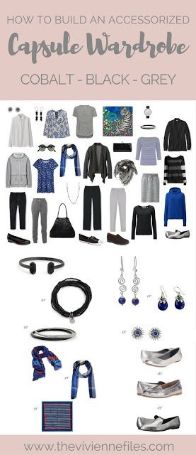 How to Build a Capsule Wardrobe of Accessories: Cobalt, Black and Grey, 1 at a Time