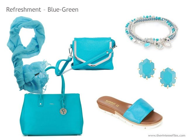 Adding Accessories to a Capsule Wardrobe in 13 color families -Blue