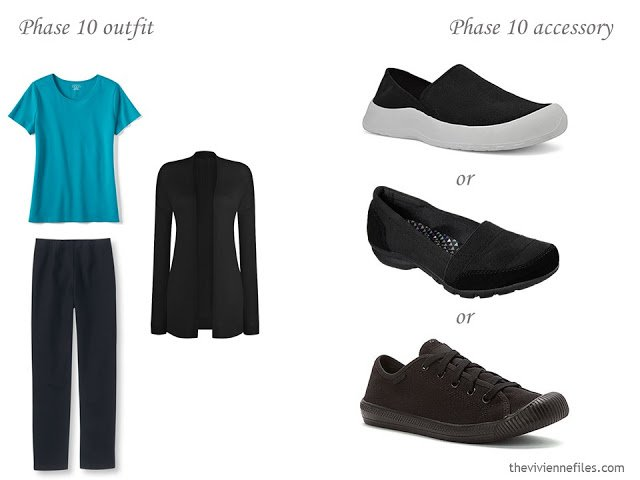 how to accessorize a capsule wardrobe in a Turquoise, Coral, Black and Ivory color palette - Shoes