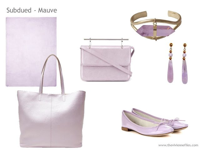 Adding Accessories to a Capsule Wardrobe in 13 color families -  mauve