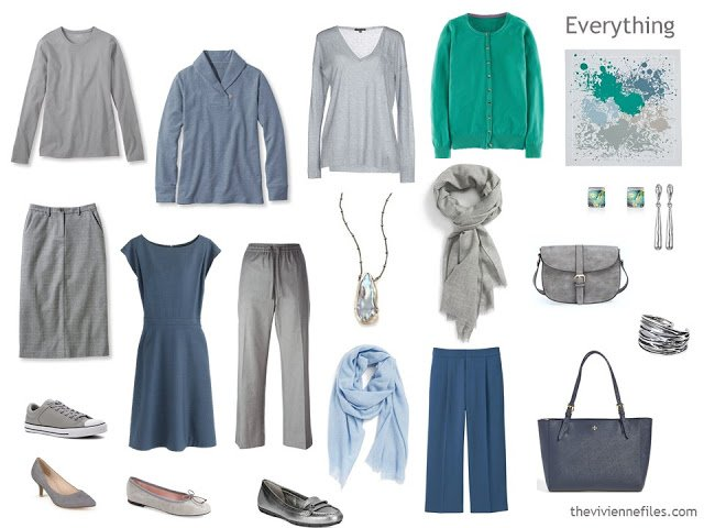 How to build a capsule wardrobe in a blue, grey and green colour palette