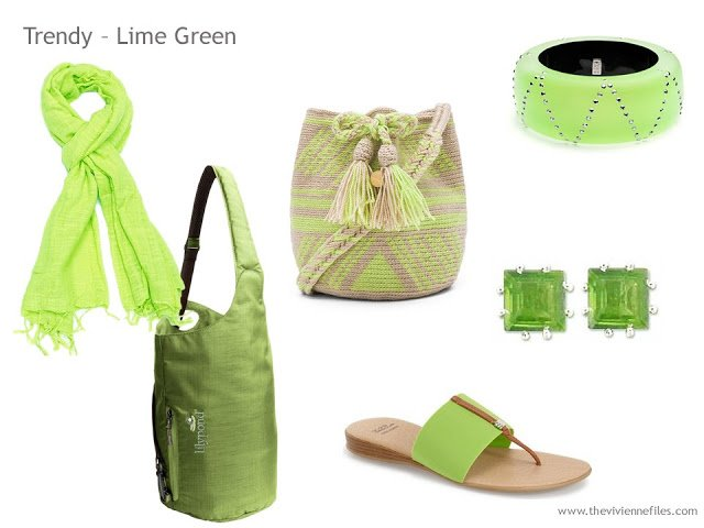 Adding Accessories to a Capsule Wardrobe in 13 color families - lime green