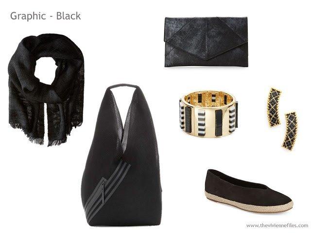 Adding Accessories to a Capsule Wardrobe in 13 color families -  black