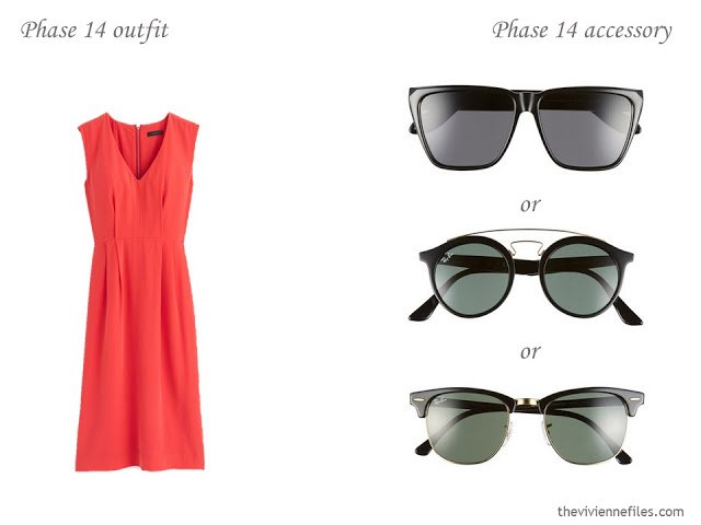 how to accessorize a capsule wardrobe in a Turquoise, Coral, Black and Ivory color palette - Sunglasses