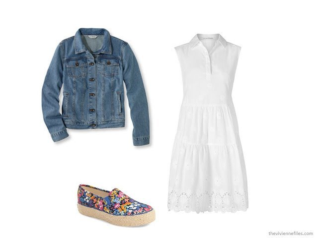 What Women were Wearing in Paris, Spring 2016 - denim jacket over a white dress