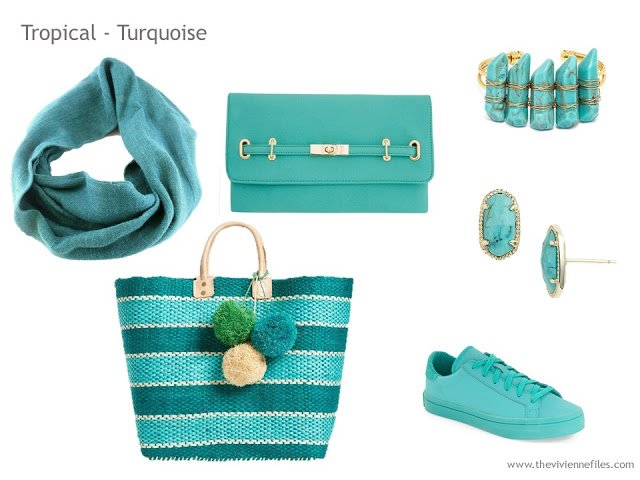 Adding Accessories to a Capsule Wardrobe in 13 color families - Turquoise
