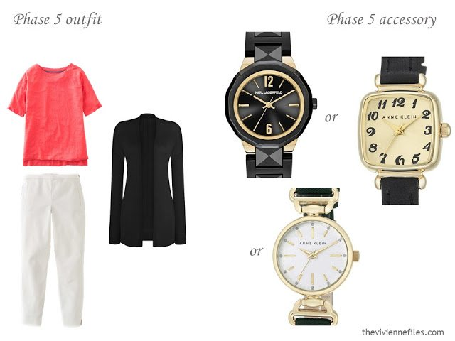 how to accessorize a capsule wardrobe in a Turquoise, Coral, Black and Ivory color palette - Watches